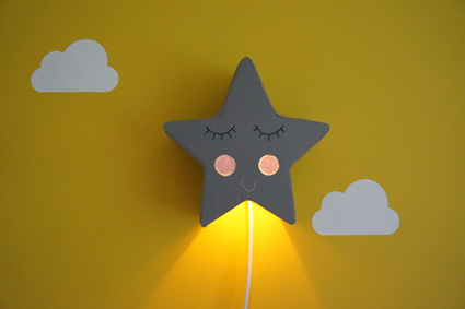 Grey star light with glowing cheeks