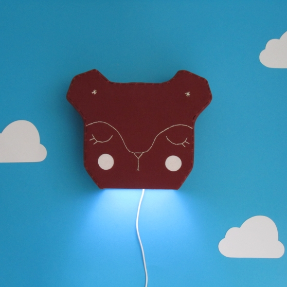 Bear light on with glowing cheeks